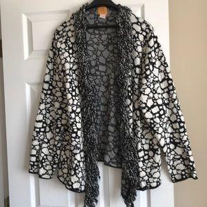 Plus size black & white fun sweater